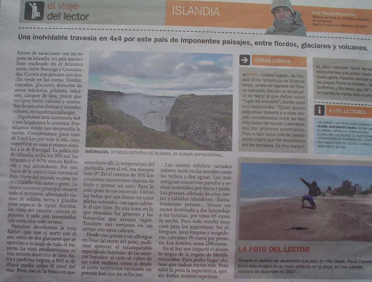 Reportaje diario Clarin Jose Maria Piasentini