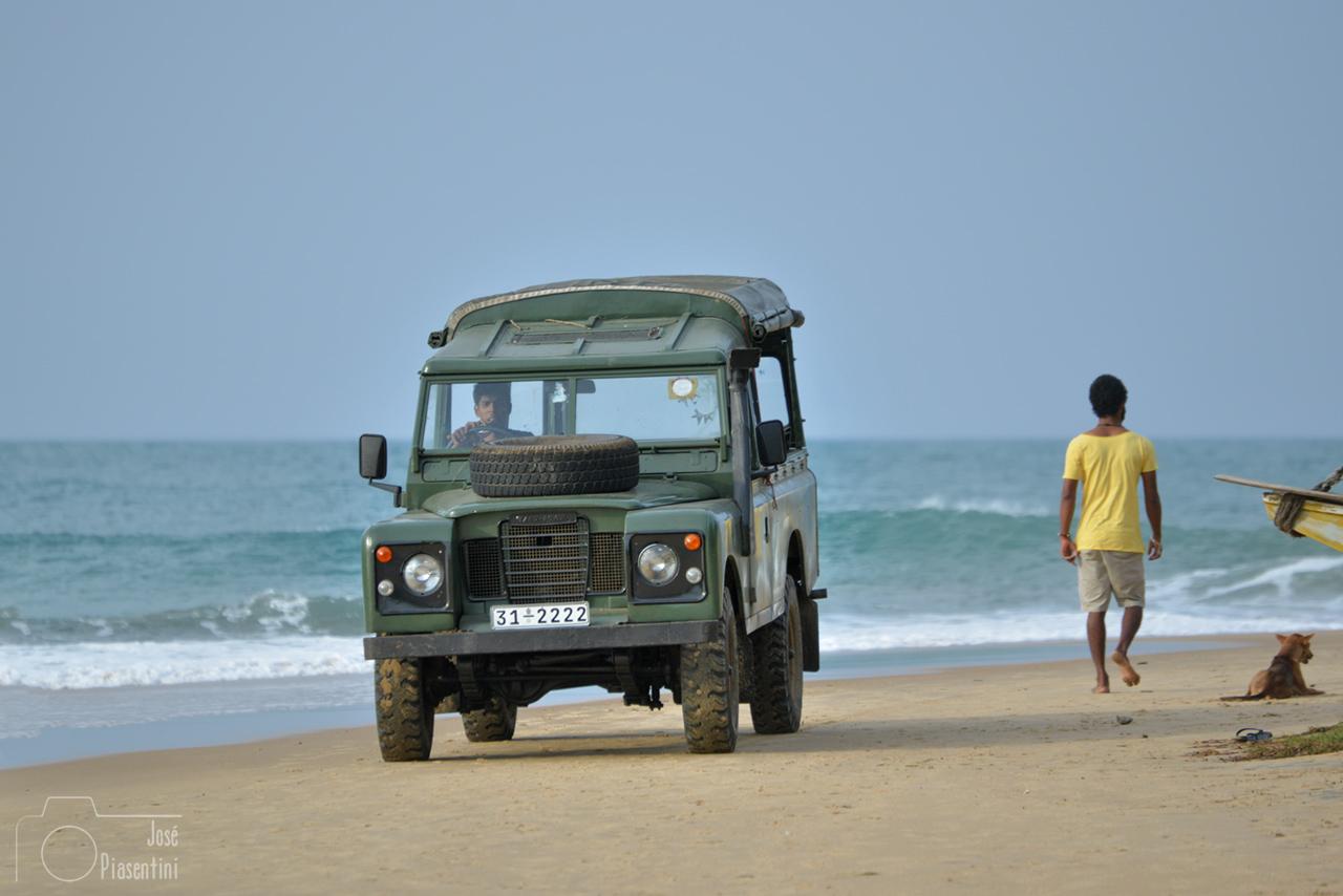 Land Rover on the beach