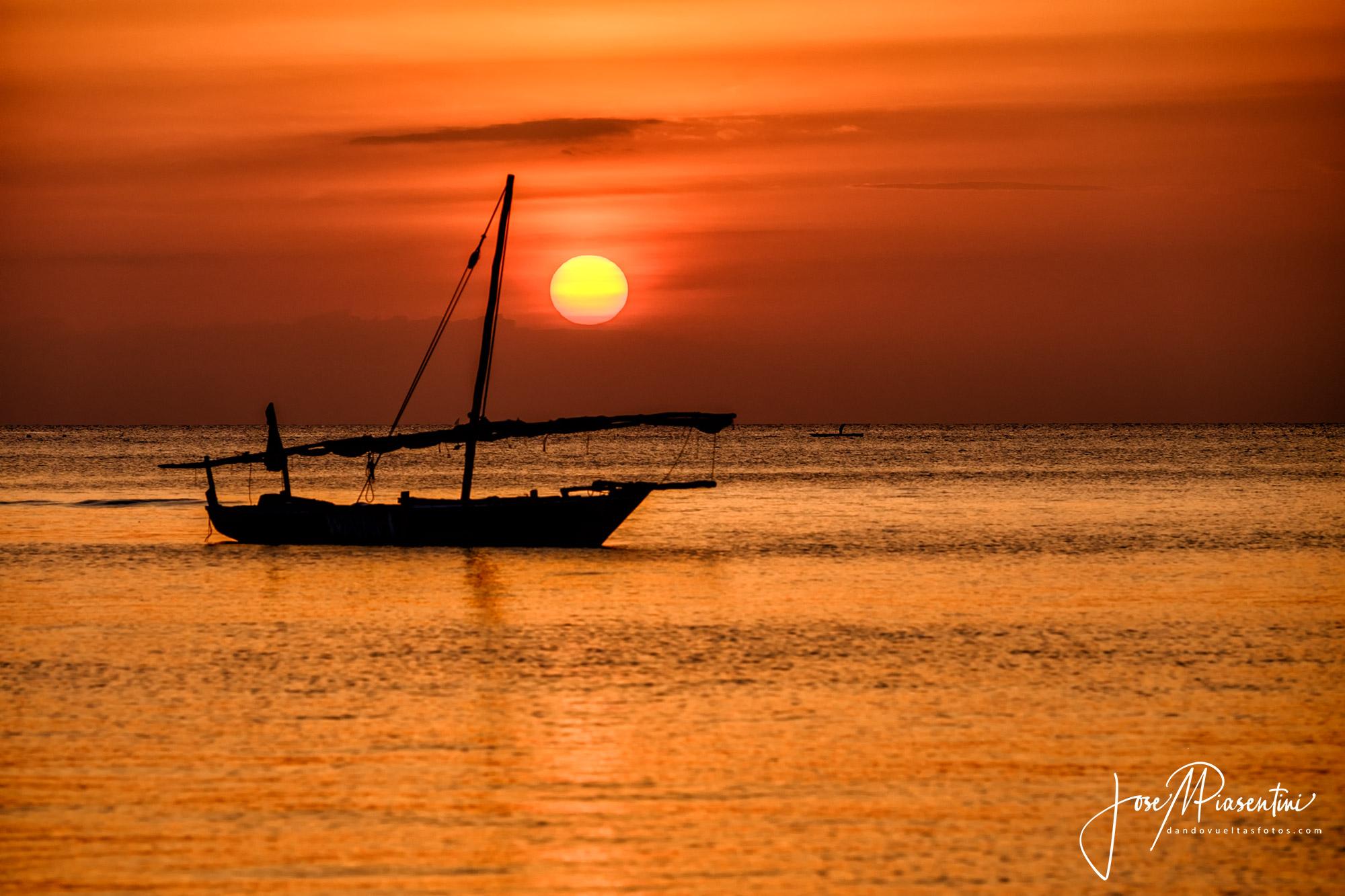 dhow and sunset zanzibar