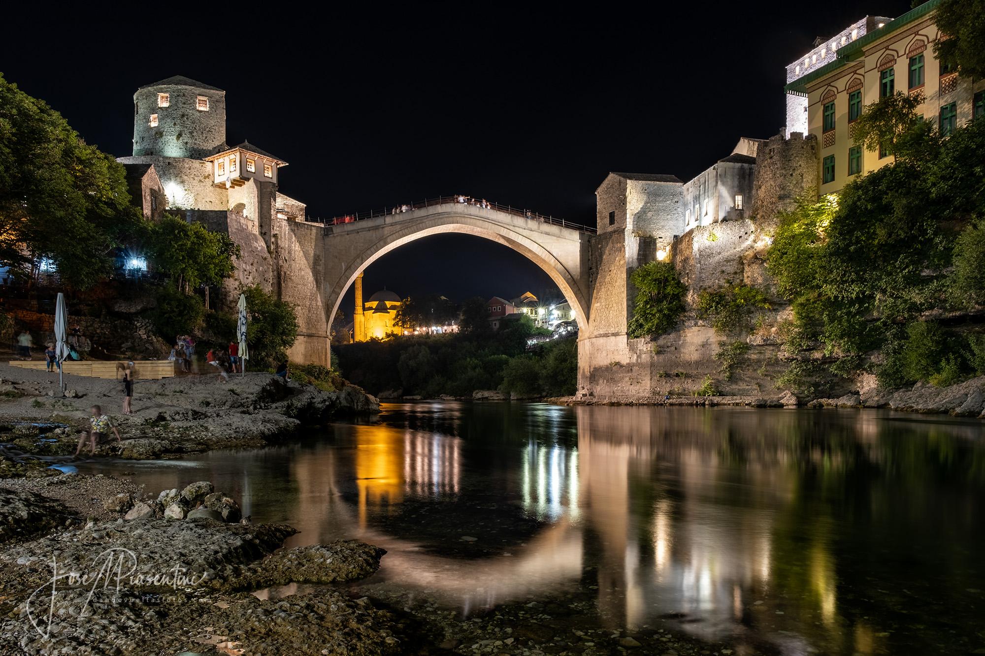 Mostar bridge at night
